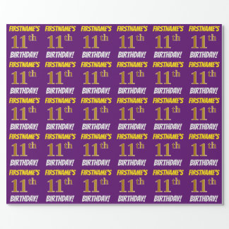 "Purple, Faux/Imitation Gold, ""11th BIRTHDAY"" Wrapping Paper"