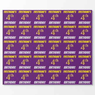 """Purple, Faux/Imitation Gold, """"4th BIRTHDAY"""" Wrapping Paper"""