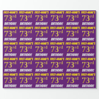 "Purple, Faux/Imitation Gold, ""73rd BIRTHDAY"" Wrapping Paper"
