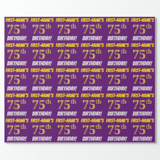 """Purple, Faux/Imitation Gold, """"75th BIRTHDAY"""" Wrapping Paper"""