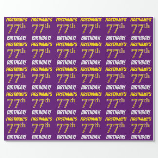 """Purple, Faux/Imitation Gold, """"77th BIRTHDAY"""" Wrapping Paper"""