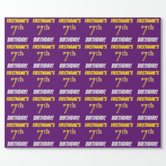"""Purple, Faux/Imitation Gold, """"7th BIRTHDAY"""" Wrapping Paper"""