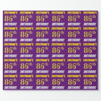 """Purple, Faux/Imitation Gold, """"86th BIRTHDAY"""" Wrapping Paper"""