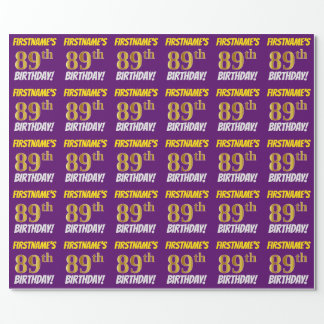 """Purple, Faux/Imitation Gold, """"89th BIRTHDAY"""" Wrapping Paper"""