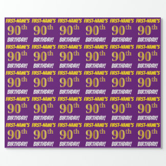 "Purple, Faux/Imitation Gold, ""90th BIRTHDAY"" Wrapping Paper"