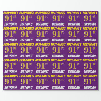 """Purple, Faux/Imitation Gold, """"91st BIRTHDAY"""" Wrapping Paper"""