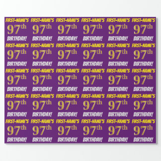 """Purple, Faux/Imitation Gold, """"97th BIRTHDAY"""" Wrapping Paper"""