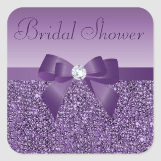 Purple Faux Sequins Bow & Bling Bridal Shower Square Sticker