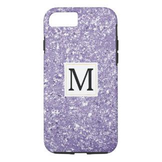 Purple Faux Sparkly Glitter Monogram iPhone 8/7 Case