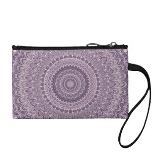 Purple feather mandala coin purse