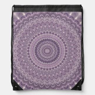 Purple feather mandala drawstring bag