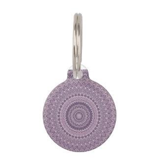 Purple feather mandala pet tag