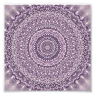 Purple feather mandala photo print
