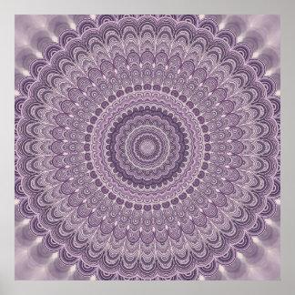 Purple feather mandala poster