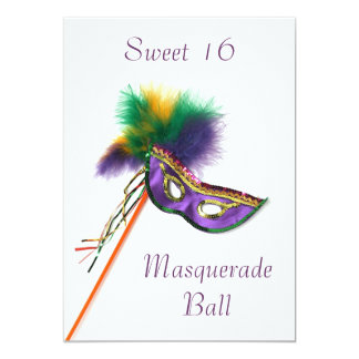 Purple Feather Mask Sweet 16 Masquerade Party Card