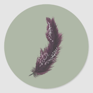 Purple Feather with White Designs Green Sticker