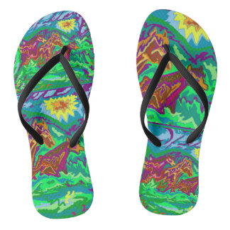 Purple Feathered Horses Flip Flops
