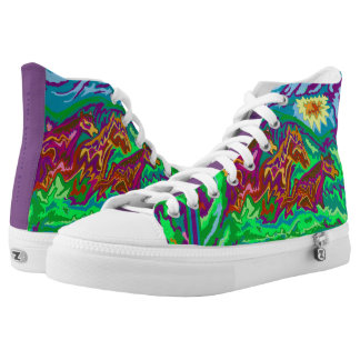 Purple Feathered Horses High Top Shoes