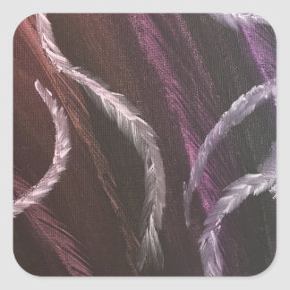 Purple Feathers gift decorating Square Sticker