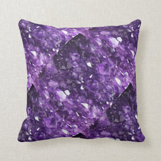 PURPLE FEBRUARY AMETHYST CRYSTALS THROW PILLOW