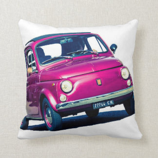 Purple Fiat 500 in Italy, classic car cushion