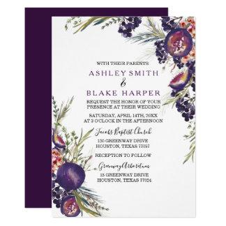 Purple Fig Watercolor Floral Wedding Invite