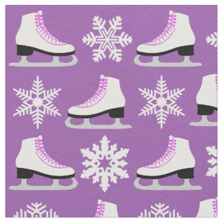 Purple Figure Skates and Snowflakes Christmas Fabric