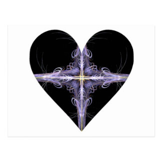 Purple Filigree Design Fractal Art Heart Postcard