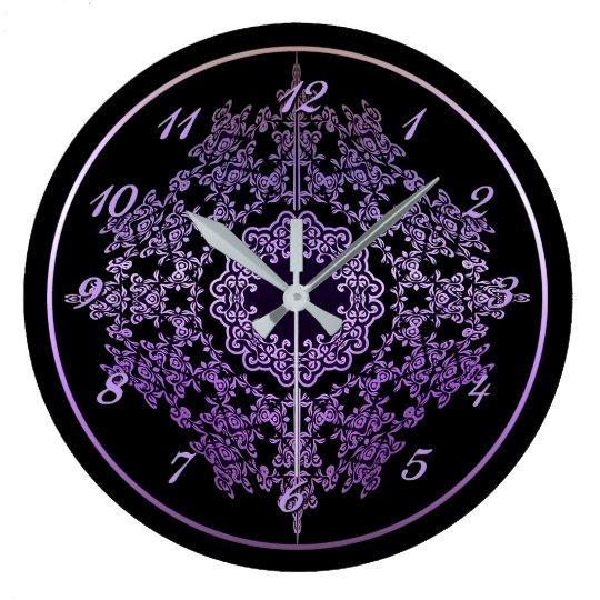 Purple Filigree Motif Wall Clock