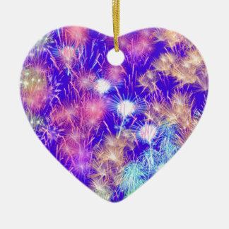 Purple Fireworks Ceramic Heart Ornament