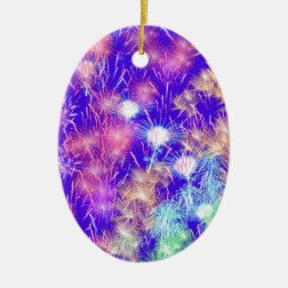 Purple Fireworks Ceramic Oval Ornament
