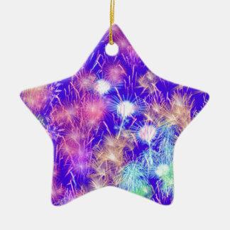 Purple Fireworks Ceramic Star Ornament