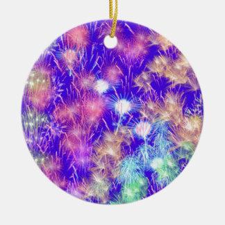 Purple Fireworks Round Ceramic Ornament