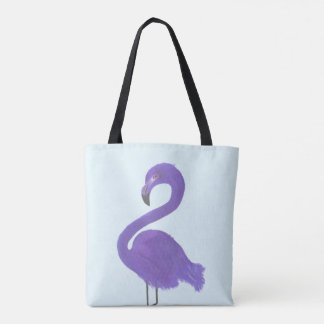 Purple Flamingo Painting - Coastal Fine Art Tote Bag