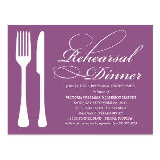 PURPLE FLATWARE | REHEARSAL DINNER INVITE POSTCARD