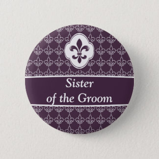 Purple Fleur de Lis Chain Wedding Party Buttons