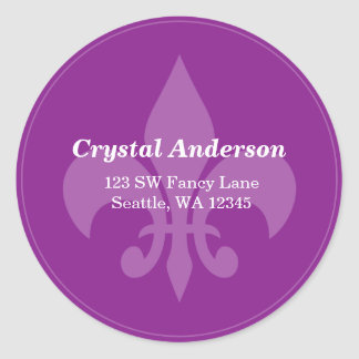 Purple Fleur-De-Lis Custom Address Label