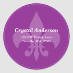 Purple Fleur-De-Lis Custom Address Label Round Sticker