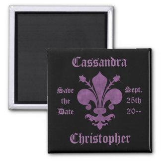 Purple fleur de lis on black save the date wedding magnet