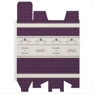 Purple Fleur de Lis Scroll Personalized Wine Box