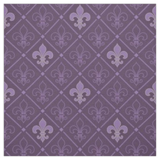 Purple Fleur de Lis Seamless Pattern Fabric