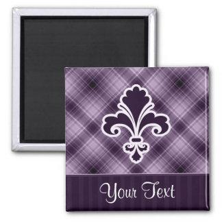 Purple Fleur de lis Square Magnet