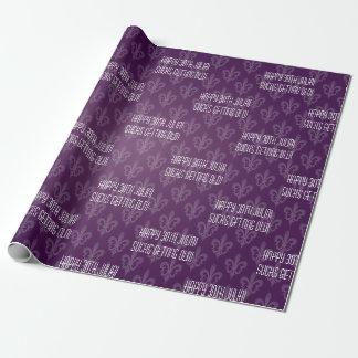 Purple Fleur De Lis Wrapping Paper