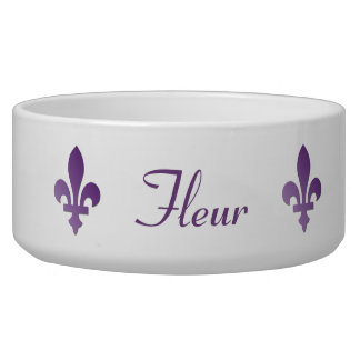 Purple Fleur-de-lys French Francophone Pet Dish