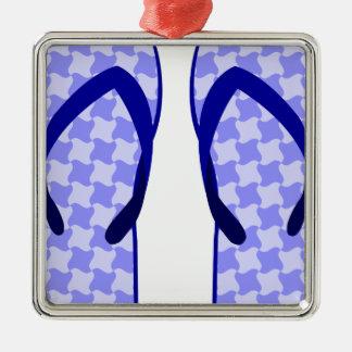 Purple Flip Flops Metal Ornament