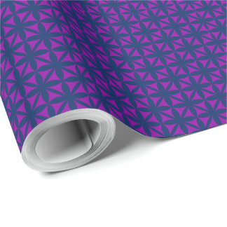Purple Flora Pattern on editable background colour Wrapping Paper