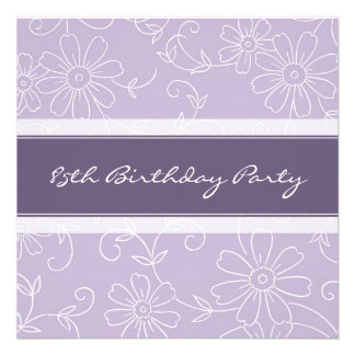 Purple Floral 85th Birthday Party Invitations