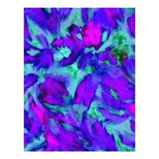 Purple Floral Abstract Watercolor Designer Beauty Customized Letterhead