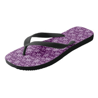 Purple Floral Adult, Wide Straps Flip Flops