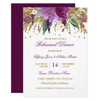 Purple Floral Amethyst Wedding Rehearsal Dinner Card